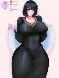 areolae big_breasts breasts curvy female female_only fubuki large_breasts law-zilla looking_at_viewer nipples onepunch_man pussy see-through solo
