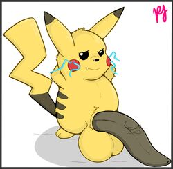 animal_genitalia balls big_balls black_eyes black_penis chubby dipstick_ears electricity fangs feral fur hands_behind_head huge_balls hyper hyper_balls hyper_penis male mammal nintendo penis pfh pikachu pokémon_(species) pokemon pose rodent shadow sheath simple_background small_but_hung solo tapering_penis tuft vein veiny_penis video_games white_background yellow_fur