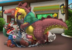 anthro balls bottomless breasts clothed clothing dinosaur duo erection female foxy_(planet_coaster) gulpee_rex_(planet_coaster) kitsune_youkai male male/female mascot penis planet_coaster reptile scalie shirt slightly_chubby theropod tongue tongue_out tyrannosaurid tyrannosaurus tyrannosaurus_rex