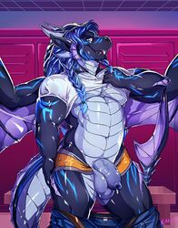 anthro balls captain_nikko clothed clothing dragon flaccid humanoid_penis locker_room looking_at_viewer male pants_down partially_clothed penis smile solo standing uncut underwear underwear_down