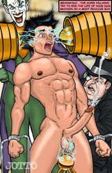 balls batman_(series) dc ejaculation electricity electrostimulation erection gay joker jotto male male_only muscular naked penguin penis robin_(dc) the_penguin yaoi