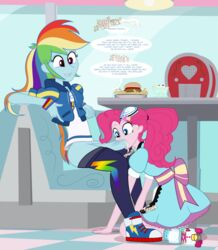 clothing cum cum_in_mouth cum_inside cum_on_clothes dickgirl equestria_girls fellatio futa_on_female futanari issue_69 my_little_pony oral pinkie_pie_(mlp) rainbow_dash_(mlp) rainbow_hair sex stealth_sex under_the_table waitress