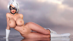 1girl 3d areola bimbo black_cat boots breasts busty cleavage elbow_gloves eyeshadow gloves grey_pubic_hair hourglass_figure huge_breasts laying_down lipstick makeup marvel nipples posing silver_hair tingtam voluptuous white_hair wide_hips