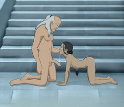 anaxus avatar_the_last_airbender barefoot blue_eyes blush brown_hair female katara long_hair looking_at_another looking_down looking_up male nipple on_knees open_mouth pakku penis ponytail room saliva saliva_on_penis saliva_string side_view sideboob small_breast tongue tongue_out white_hair