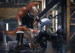 anal anal_beads anal_sex animal_genitalia animal_penis anthro balls bondage boots canid canine canine_penis clothed clothing collar deusexmoose domination duo erection fingerless_gloves footwear gloves knot leash lube male male/male mammal mask muscular muscular_male penetration penis rubber rubber_suit sex sex_toy smile tight_clothing tongue tongue_out