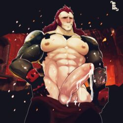 abs bara biceps bionic_arm black_sclera cum cum_string cumdrip evil_eyes foreskin long_hair muscles muscular_male pants_down pecs penis penis_out prosthetic_arm red_eyes red_hair six_pack smug solo_male spacelords uncircumcised uncut