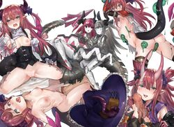 2boys 6+girls areolae asymmetrical_horns blue_eyes blue_ribbon blush boots cape choker corset curled_horns detached_sleeves dragon_girl dragon_horns dragon_tail elizabeth_bathory_(brave)_(fate) elizabeth_bathory_(fate) elizabeth_bathory_(fate)_(all) elizabeth_bathory_(halloween_caster)_(fate) fate/grand_order fate_(series) fellatio flat_chest hair_ribbon hat heart heart-shaped_pupils highres horns knee_boots long_hair mecha_eli-chan mecha_eli-chan_mk.ii multiple_boys multiple_girls multiple_persona nipples nose_blush nude open_mouth oral pauldrons penis pink_hair pointy_ears ribbon robot ryuuji_teitoku simple_background straight symbol-shaped_pupils tail thighhighs tiara torn_cape torn_clothes two_side_up vambraces white_background white_cape wings witch_hat