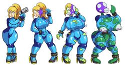 big_breasts blonde_hair breast_expansion breasts butt_expansion clothing corruption female flora_fauna gun hair huge_breasts human human_to_humanoid humanoid lip_expansion mammal mario_bros masturbation metroid nintendo nipples pigeon_toed piranha_plant plant prinnydood ranged_weapon rocket_heels samus_aran sequence simple_background skinsuit smile solo surprise tight_clothing torn_clothing transformation video_games weapon white_background wide_hips zero_suit