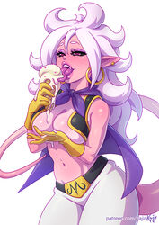 android_21 big_breasts breasts cleavage dragon_ball dragon_ball_fighterz kajinman large_breasts majin majin_android_21 open_mouth solo tongue tongue_out