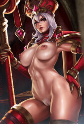 dandon_fuga exposed_breasts exposed_pussy heroes_of_the_storm naked nipple_piercing nude pubic_hair pussy_juice_drip pussy_juice_trail sally_whitemane tagme white_hair world_of_warcraft