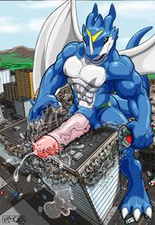 2009 abs balls big_penis building car city destruction digimon digimon_(species) erection exveemon flooding high-angle_view horn huge_cock humanoid_penis kencougr macro male markings messy muscular muscular_male nipples nude penis precum scalie_only smile solo standing train vehicle vein wings xbuimonsama