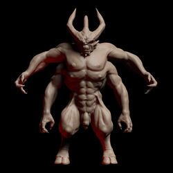 3d 4_arms abs black_background cgi claws demon flaccid foreskin full_body hooves horns kazeohin male monster muscles muscular muscular_thighs pecs penis render simple_background solo
