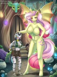2019 alicorn alicorn_amulet areola bat_pony bat_wings breasts cleavage clothed clothing draltruist equine feathers female flutterbat_(mlp) fluttershy_(mlp) friendship_is_magic glowing growing horn magic mammal membranous_wings mind_control my_little_pony neck_rings nipple_bulge nipples nude piercing pussy red_eyes size_difference sparkles transformation wings zebra zecora_(mlp)