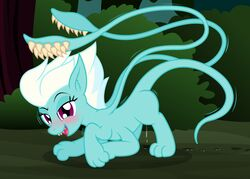 2019 badumsquish blush displacer_beast equine fangs female fleetfoot_(mlp) friendship_is_magic horse in_heat mammal monster my_little_pony pony purple_eyes shaking solo tentacle trembling wonderbolts_(mlp)