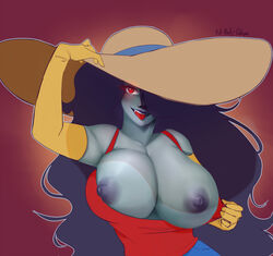 absurdres adventure_time areolae big_breasts black_hair breasts clothing exposed_breasts female female_only full-body-collapse hair hair_over_one_eye hat long_hair marceline monster_girl nipples red_eyes solo vampire