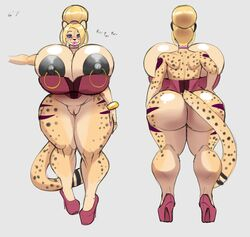 anthro ass big_breasts big_butt breasts cheetah clothing colored_sketch curvaceous felid feline female footwear high_heels huge_breasts looking_at_viewer makeup mammal nipple_piercing nipples piercing plankboy platform_footwear platform_heels pussy shoes smile solo standing thick_thighs