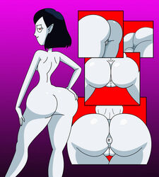adventure_time ass asshole big_ass black_hair bob_cut cartoon_network female grey_skin innie_pussy looking_at_viewer looking_back marceline nerdsman567 sideboob solo thick_thighs vagina vampire
