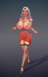 1girl adult areola_slip bare_shoulders big_breasts black_eyes black_hair boobsgames bracelet busty cleavage curvy dress ear_piercing earrings erect_nipple erect_nipples eyelashes fancy_bates female female_only footwear front_view gray_hair high_heels hourglass_figure human legwear lipstick long_hair looking_at_viewer makeup mature milf nail_polish nipple_bulge open_mouth piercing pose posing red_lipstick see-through shadow shiny shiny_skin simple_background solo solo_female standing stockings teresa_ganzel the_toy thong voluptuous walking wide_hips