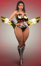 1girl 3d bare_shoulders big_breasts black_hair blue_eyes boots bracer busty choker cleavage curvy dc dc_comics detailed_background diana_prince english_text eyelashes female female_only front_view hand_on_hip hands_on_hip hands_on_hips high_heel_boots high_heels hourglass_figure human leotard lipstick long_hair looking_at_viewer makeup nail_polish pose posing red_lipstick rope shadow shiny shiny_skin solo spread_legs spreading standing superheroine tiara voluptuous water wide_hips wonder_woman wonder_woman_(series) xskullheadx
