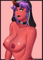 black_border black_lipstick border closed_mouth demon_girl falkeart female female_only green_eyes highres horn large_breasts lips lipstick looking_at_viewer makeup necklace nipples nude nun original pink_background purple_hair red_skin short_hair smile solo upper_body