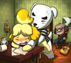ambiguous_penetration animal_crossing anthro anthro_on_anthro being_watched blush bondage bondage bottomless bound brother brother_and_sister canid canine canis closed_eyes clothed clothed_sex clothing digby_(animal_crossing) domestic_dog duo_focus female from_behind_position group inside isabelle_(animal_crossing) k.k._slider lkiws male male/female mammal nintendo penetration punchy_(animal_crossing) sex sibling sister sweat video_games
