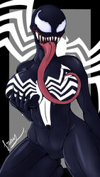 1girl abs alien belly big_breasts breast_lick breasts female female_only fraydragon grabbing_own_breast kneeling large_breasts long_tongue marvel marvel_comics muscles muscular muscular_female navel on_knees saliva sharp_teeth she-venom symbiote text thick_thighs thighs tongue tongue_out venom watermark white_eyes wide_hips