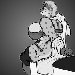 anthro big_breasts bra breasts clothed clothing dickgirl greyscale huge_breasts humanoid_penis hyaenid intersex mammal monochrome nolollygagging pants_down partially_clothed penis sitting solo spotted_hyena underwear undressing