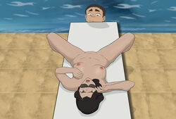 anaxus asami_sato avatar_the_last_airbender black_hair breasts chair female green_eyes laying_down long_hair looking_at_pussy looking_at_viewer looking_down male meelo naked nipples outdoors small_breasts spread_legs sunbathing sunglasses the_legend_of_korra