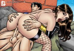 ass ass_grab big_ass big_balls big_butt big_muscles big_penis black_gloves black_hair brown_eyes brown_hair captain_marvel_jr. cowgirl_position dc dc_comics disgusted fishnet fishnet_legwear fishnet_stockings fishnets from_below gloves huge_ass huge_balls huge_butt huge_cock huge_cock huge_muscles huge_testicles leandro_comics lipstick looking_at_viewer looking_away looking_back looking_to_the_side lying_on_back lying_on_person mary_marvel moan moaning on_back on_top red_lipstick riding sitting_on_lap sitting_on_penis