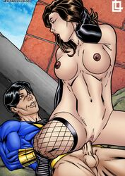 big_balls big_muscles big_penis black_gloves black_hair breasts brown_eyes brown_hair captain_marvel_jr. dc dc_comics female fishnet fishnet_legwear fishnet_stockings fishnets from_above from_below gloves grabbing_hair hair huge_areolae huge_balls huge_breasts huge_cock huge_nipples huge_testicles leandro_comics looking_at_another looking_at_partner looking_back looking_down lying lying_down lying_on_back mary_marvel moan moaning on_back on_top open_mouth playing_with_hair riding sex sitting sitting_on_penis sitting_on_person smile smiling straight vaginal_insertion vaginal_penetration