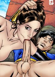 big_balls big_breasts big_muscles big_penis black_gloves black_hair blowjob blue_topwear brown_eyes brown_hair captain_marvel_jr. cunnilingus dc dc_comics deepthroat eyebrows from_above gloves grabbing grabbing_hair hair_grab half-closed_eyes holding_hair holding_head huge_balls huge_breasts huge_cock huge_muscles huge_testicles leandro_comics lightning lipstick looking_at_partner looking_at_viewer lying lying_on_back male mary_marvel mouth on_back on_top oral oral_penetration oral_sex red_lipstick