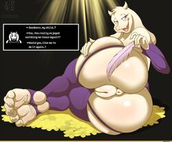 1girl 5_fingers animal_ears anthro anthrofied anus ass big_ass big_butt blue_eyes blush boss_monster butt caprine dat_ass dialogue english_text eyelashes feather feet female female_only foot_fetish foot_focus fur goat horns huge_ass huge_butt humanoid_feet humanoid_hands milf mostly_nude mother open_mouth open_smile parent pussy solo thick thick_ass thick_thighs toe_claws toes toriel undertale vagina vulva white_fur wide_hips zp92