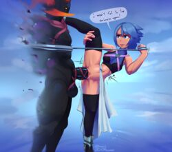 aqua_(kingdom_hearts) big_penis bikupan blue_hair bottomless erection female femdom heartless huge_cock kingdom_hearts leg_up male malesub matching_hair/eyes one_leg_up penetration penis pussy restrained sex short_hair signature speech_bubble splits spread_legs stomach_bulge straight stretched_pussy text thighhighs tight_fit vaginal_penetration younger_female