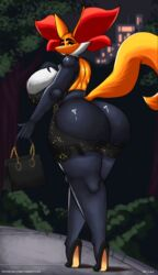 1girl 2019 anthro anthrofied areola_slip ass back big_ass big_breasts big_ears breasts clothed clothing delphox detailed_background dress female female_only footwear fox fur furry high_heels huge_ass huge_breasts l-a-v looking_back nintendo nipples original_character outdoors partially_clothed pokémon_(species) pokemon pokemon_xy purse revealing_clothes shoes sidewalk solo tail text thick_eyebrows thick_thighs tree url video_games voluptuous wardrobe_malfunction watermark wide_hips