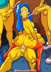 boots cum long_hair marge_simpson orgy patent_boot penis_inside recolor recolour the_simpsons