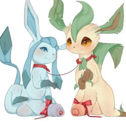2019 balls big_penis collar duo eeveelution feral foreskin glaceon hi_res huge_cock humanoid_penis hyper leafeon male male/male nintendo penis pokémon_(species) pokemon ribbons simple_background smile syuro uncut vein veiny_penis video_games white_background