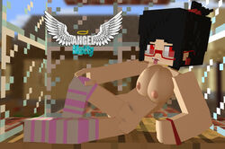 3d angel-matty_(artist) ashley black_hair female minecraft nude red_eyes stockings succubus tagme young