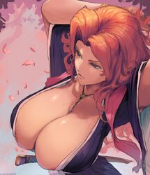 areola_slip areolae big_breasts bleach breasts bursting_breasts cleavage clothing curvy cutesexyrobutts female female_only hair highres huge_breasts long_hair matsumoto_rangiku solo