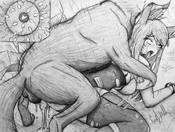 1girl ahri ahri_a_walla all_fours balls beastiality breasts breasts_out canine clothing crying cum cum_in_pussy cum_inside doggy_style female fox_ears from_behind human impregnation interspecies latex league_of_legends male_penetrating mouth_open open_mouth ovum pencil_(artwork) penetration rape rolling_eyes scratches sperm_cell thighhighs thighs torn_clothes torn_clothing torn_pantyhose traditional_media_(artwork) wolf x-ray zoophilia