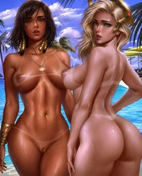 2girls absurdres ass belly_chain black_hair blizzard_entertainment blonde_hair breasts brown_eyes commentary dark_skin day eye_of_horus eyeliner facial_mark facial_tattoo from_behind green_eyes hair_tubes halterneck highres jewelry large_breasts lips logan_cure looking_at_viewer looking_back makeup mechanical_halo mercy multiple_girls navel nude outdoors overwatch paid_reward patreon_reward pharah pool poolside pussy shiny shiny_hair shiny_skin short_hair side_braids swimsuit tanline tattoo wet white_swimsuit