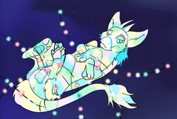 bedroom_eyes blue_eyes christmas_lights dutch_angel_dragon fur fuzzy_balls half-closed_eyes horn male multicolored_fur pawpads penis satellite seductive solo starry_background tapering_penis