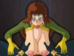 animated areolae big_areola big_breasts blowjob blush breast_grab breast_squeeze breasts brown_eyes brown_hair fellatio female gloves hands_on_another's_thighs holding_breasts huge_breasts just_the_tip long_breasts long_hair long_penis male male_pov marvel meet_'n'_fuck_games meet_and_fuck mystique nipples oral paizuri pink_nipples pov rogue_(x-men) shapeshifter soft_breasts two_tone_hair uniform unseen_character white_hair x-men