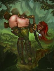 ass bent_over clothing elf female female_only hair long_hair mister69m pointy_ears presenting presenting_hindquarters presenting_pussy pussy red_hair solo