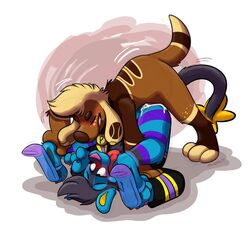 alternate_color anvil_position archie_otterdog blush canid canine canis claw_polish claws clothing domestic_cat domestic_dog felid feline felis footwear foxudders high_heels hybrid leg_warmers legs_up legwear luxio mammal mustelid nintendo original_character otter paws pink_claws pleasured_expression pokémon_(species) pokemon see_through_shoes sex shoes twinkle_moondust video_games