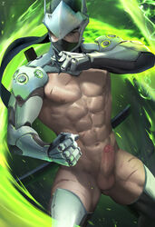 1boy armor body_hair erection genji_(overwatch) highres male_focus mask nude overwatch penis sakimichan scar solo sword testicles undressing weapon