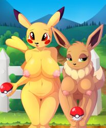 2019 anthro areola big_breasts black_nose breasts cleft_tail dipstick_ears dipstick_tail duo eevee eyelashes female hi_res holding_object multicolored_tail navel neck_tuft nintendo nipples nude outside pikachu pokéball pokémon_(species) pokemon pussy smile tuft video_games whitmaverick