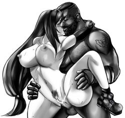 barret_wallace big_breasts comforting dark-skinned_male feiryu final_fantasy final_fantasy_vii intimate kissing love male monochrome naked romantic_couple standing tifa_lockhart