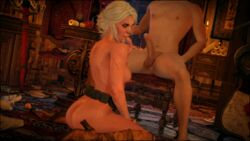1boy 3d areolae ass balls breasts ciri cum_in_mouth eating_cum female finger_in_mouth green_eyes looking_back nipples on_chair on_floor on_knees penis scar sdbtt sitting the_witcher the_witcher_3 the_witcher_3:_wild_hunt white_hair