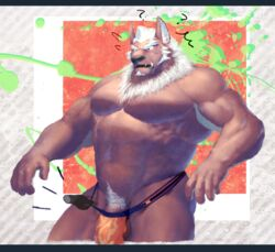 1393_noam abs canid canine canis clothing demon disembodied_hand male mammal marchosias muscular muscular_male nipples pecs penis penis_base pubes scar tokyo_afterschool_summoners underwear video_games wolf