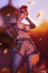 abs areolae balls blood_elf breasts dickgirl elf flaccid foreskin futa_only futanari looking_at_viewer nipples penis personalami pointy_ears solo testicles uncut world_of_warcraft